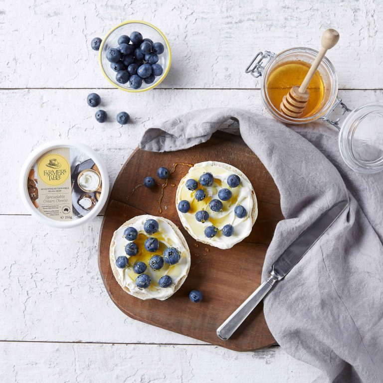 Farmer's Table - Bagels with Cream Cheese and Blueberry